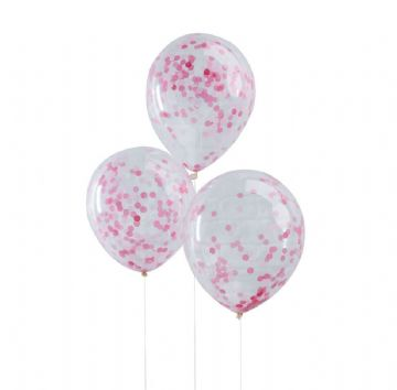 Pink Confetti Balloons - pack of 5